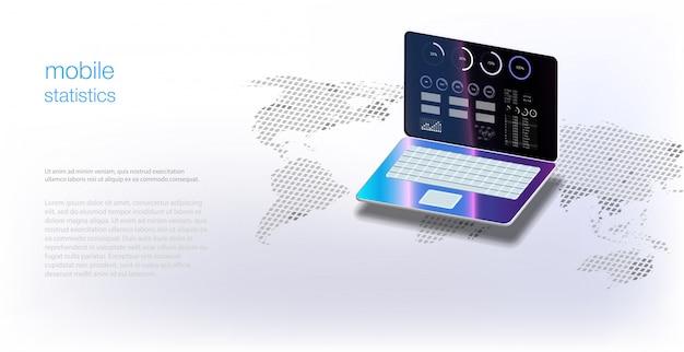 Analysegegevens op isometrische laptop. online statistieken en data-analyse. digitale markt, investeringen, financiën en handel. toepassing van laptop met zakelijke grafiek en analytische gegevens isometrische laptop