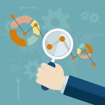Analytic infografie met vergrootglas