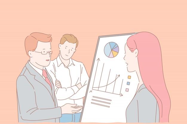 Analytics afdelingsvergadering, samenwerkingsconcept bedrijfsmedewerkers