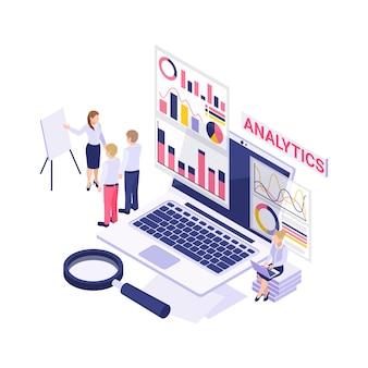 Analytics isometrisch met laptop vergrootglas werkende mensen en diagrammen 3d illustratie