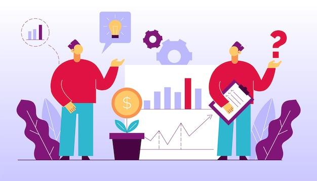 Analytics man teamwerk op het gebied van boekhouding, analyse maken, marketingonderzoek, financieel beheer uitvoeren. medewerker brainstormen, idee creëren, investeringsstrategie plannen. zakelijke bijeenkomst