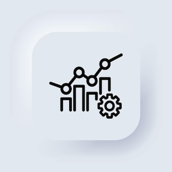 Analytics zakelijke pijlpictogram. vooruitgang van de marketingproductiviteit, beheer van de winstmarkttrend. neumorphic ui ux witte gebruikersinterface webknop. neumorfisme. vector.