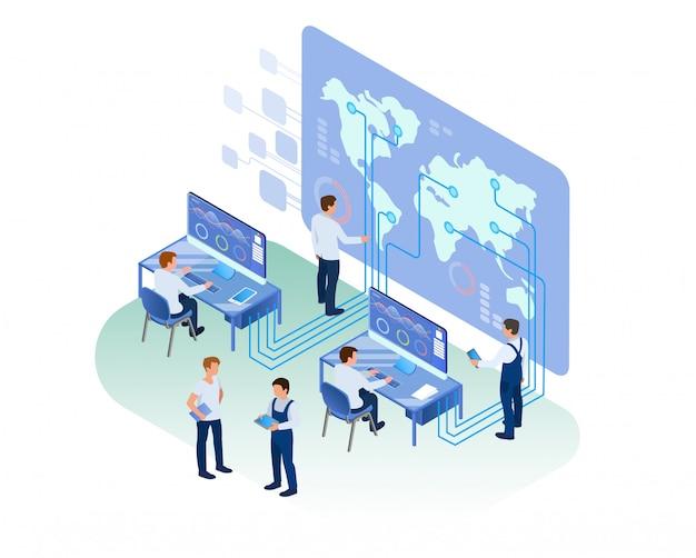 Analytisch centrum medewerkers die op kantoor werken