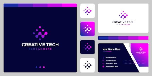 Analytisch logo met technische stijl en verloopkleur. visitekaartje.