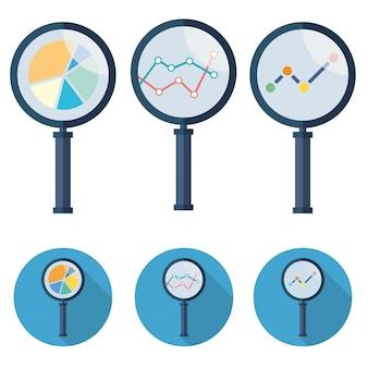 Analytische vector pictogrammen vergrootglas set symbool