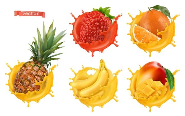 Ananas, aardbei, sinaasappel, banaan, mangosap. vers fruit en spatten, 3d-realistische vector icon set