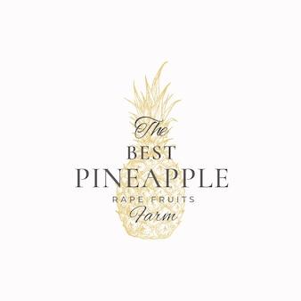 Ananas boerderijen abstracte logo sjabloon. hand getekende ananas schets met retro typografie.