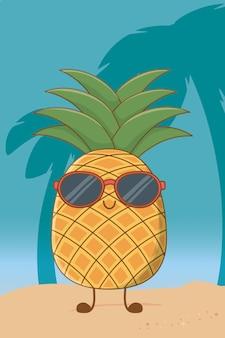 Ananas die met geïsoleerd zonnebrilbeeldverhaal glimlacht