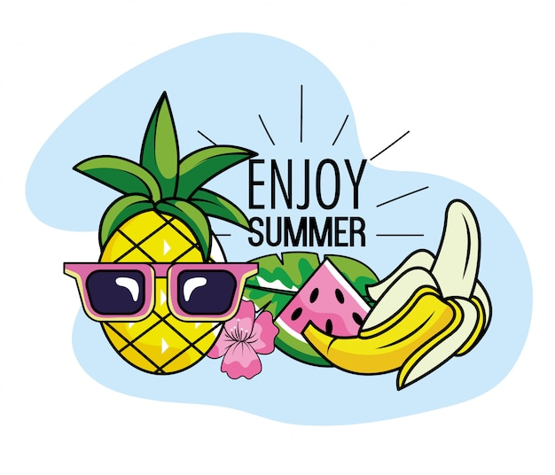 Ananas die zonnebril met watermeloen en banaanvruchten draagt