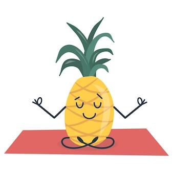 Ananas doet yoga zittend in de lotushouding