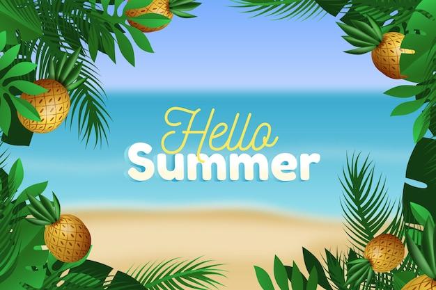 Ananas en bladeren realistische zomer achtergrond