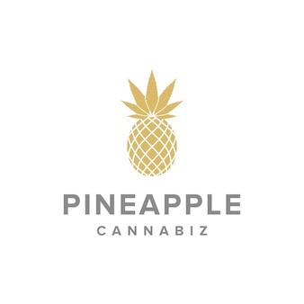 Ananas en cannabiz eenvoudig strak creatief geometrisch modern logo-ontwerp