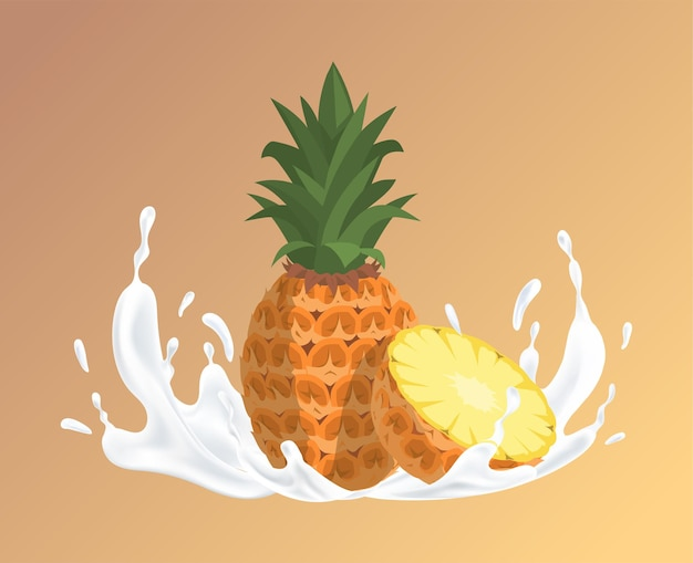 Ananas en splash van witte vloeibare cartoon natuurlijke organische illustratie