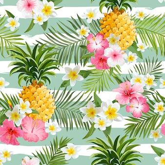 Ananas en tropische bloemen geometrie achtergrond - vintage naadloze patroon