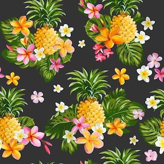 Ananas en tropische bloemen vintage naadloze patroon