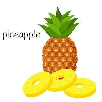 Ananas heel met bladeren en ronde geschilde plakjes