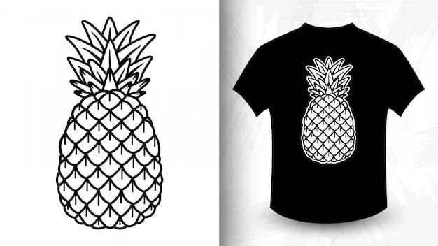 Ananas, idee voor t-shirt in zwart-wit stijl