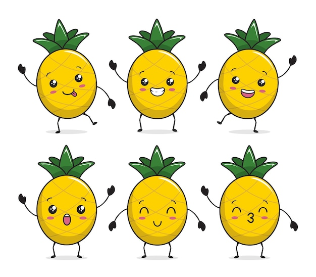 Ananas kawaii mascotte cartoon afbeelding