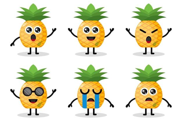 Ananas mascotte fruit plat ontwerp karakter