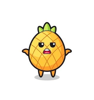 Ananas mascotte karakter zegt ik weet het niet, schattig stijlontwerp voor t-shirt, sticker, logo-element