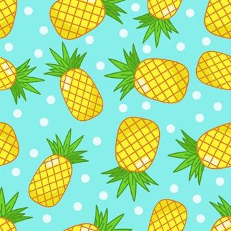 Ananas met blauw en punten naadloos patroon als achtergrond.