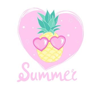 Ananas met glazen ontwerp, exotisch, achtergrond, voedsel, fruit, illustratie natuur ananas tropische zomer.