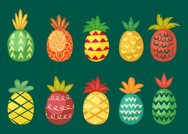 Ananas met heldere geplaatste ornamenten