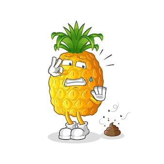 Ananas met stinkende afvalillustratie