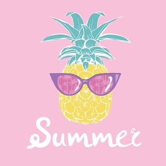 Ananas met tropische glazen, vector, illustratie, ontwerp, exotisch, voedsel, fruit
