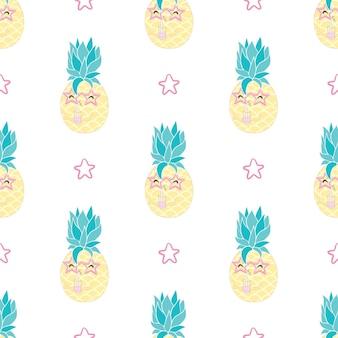 Ananas met zonnebril naadloos patroon op zwart. vectorachtergrond.