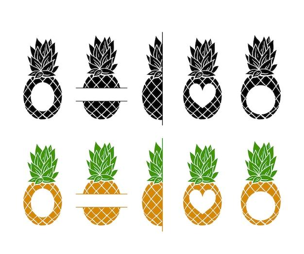 Ananas monogram frame cliparts bundel tropisch fruit frame met plaats voor tekst
