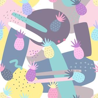 Ananas naadloze patronen op abstracte achtergrond.