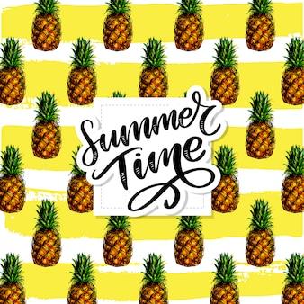 Ananas naadloze patroon, zomertijd belettering