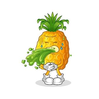 Ananas overgeven cartoon