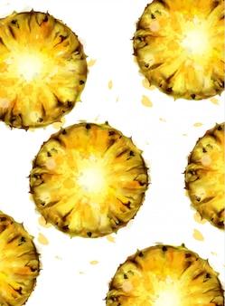 Ananas patroon aquarel