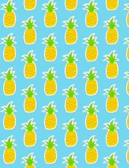 Ananas patroon op blauw
