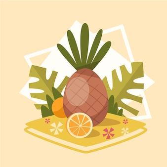 Ananas pictogram zomer zee vakantie concept zomervakantie