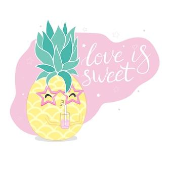 Ananas, schattig karakter voor uw ontwerp