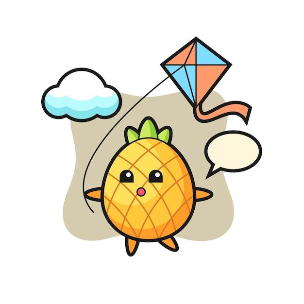 Ananas, schattig stijlontwerp voor t-shirt, sticker, logo-element