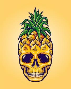 Ananas schedel zomer karakter