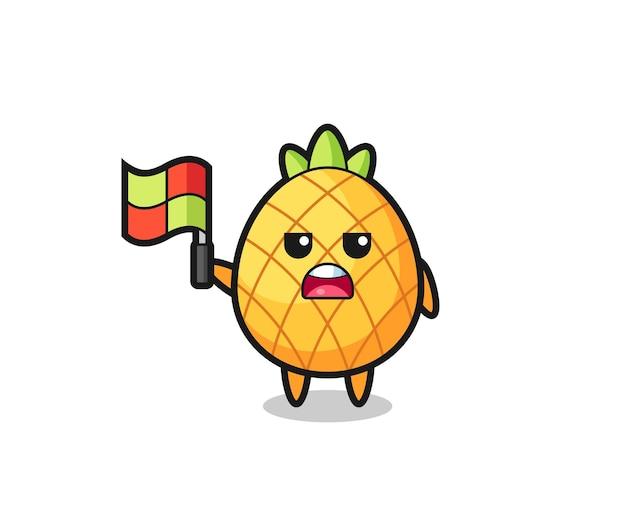 Ananaskarakter als lijnrechter die de vlag ophangt, schattig stijlontwerp voor t-shirt, sticker, logo-element