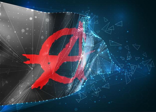 Anarchie, 3d-vlag op blauwe achtergrond met hud-interfaces