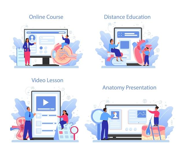 Anatomie onderwerp online service of platform set. intern menselijk orgaan studeren. anatomie en biologie concept. online cursus, presentatie, afstandsonderwijs, videolessen.
