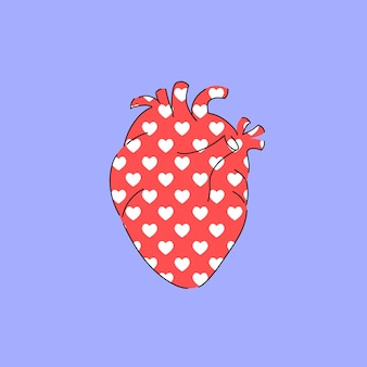 Anatomisch hart in cartoonstijl voor ansichtkaart of print