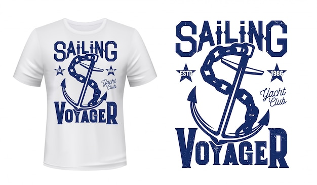 Anchor t-shirt print, zeilen en zeilen