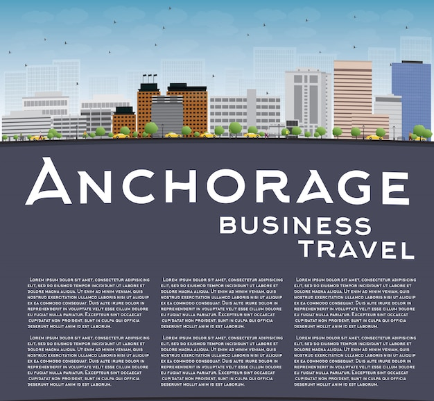 Anchorage (alaska) skyline met grijze gebouwen