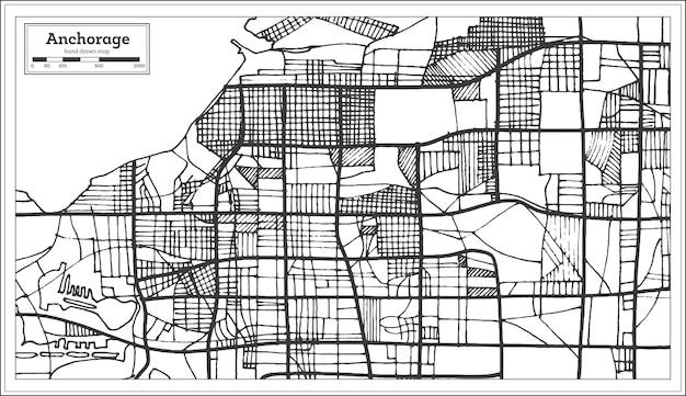 Anchorage alaska usa stadsplattegrond in retro stijl. overzicht kaart. vectorillustratie.