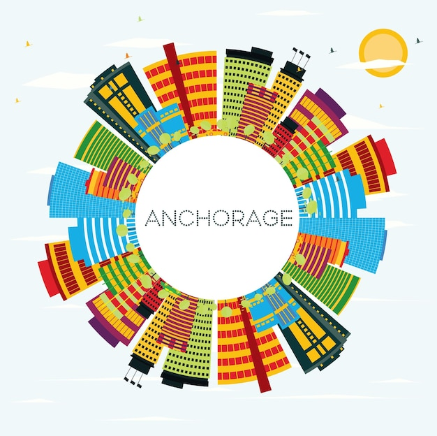 Anchorage skyline met kleur gebouwen, blauwe lucht en kopie ruimte. zakelijke reizen en toerisme concept. afbeelding voor presentatiebanner plakkaat en website.