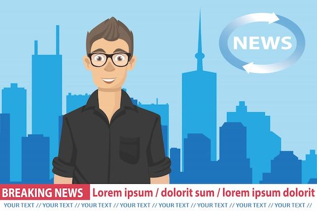 Anchorman op tv-uitzending nieuws