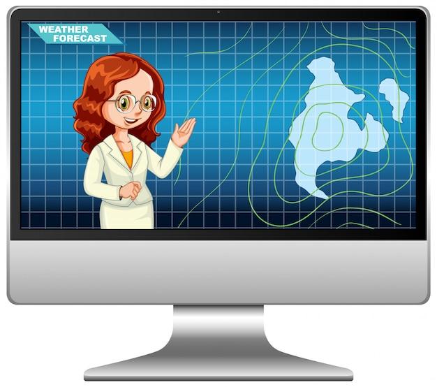 Anchorman rapporteert weersvoorspelling op tv-uitzending of computerscherm geïsoleerd